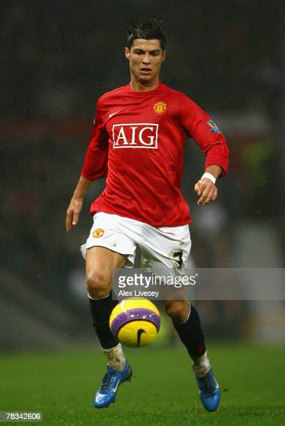 Cristiano Ronaldo of Manchester United in action during the Barclays Premier League match between Manchester United and Derby County at Old Trafford...