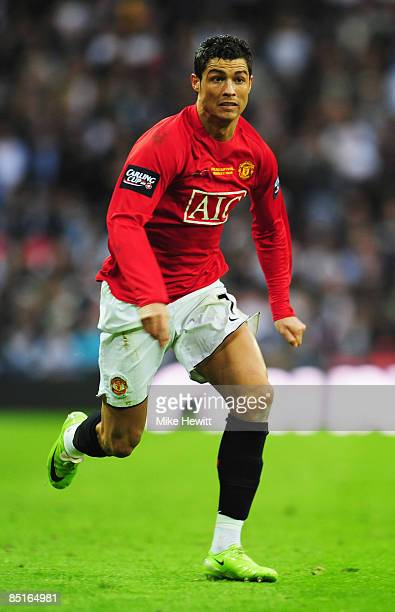 Cristiano Ronaldo of Manchester United in action during the Carling Cup Final match between Manchester United and Tottenham Hotspur at Wembley...