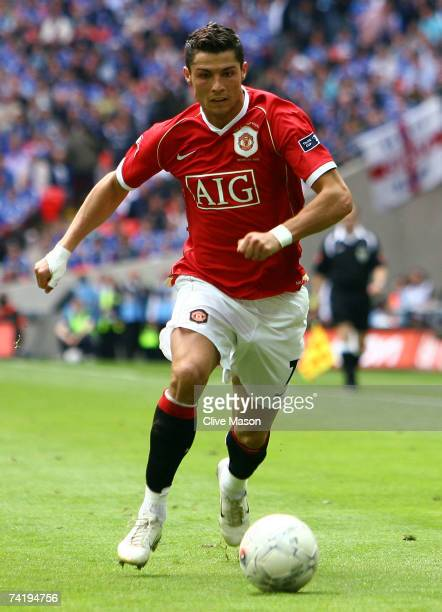 Cristiano Ronaldo of Manchester United in action during the FA Cup Final match sponsored by EON between Manchester United and Chelsea at Wembley...