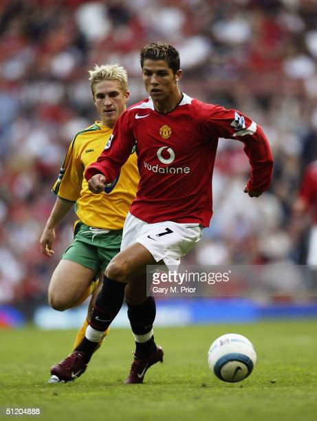 Cristiano Ronaldo of Manchester United in action during the FA Barclays Premiership match between Manchester United and Norwich City at Old Trafford...