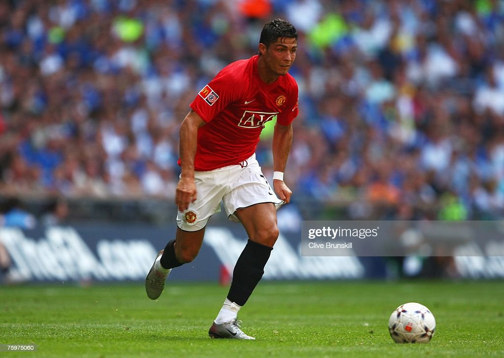 Cristiano Ronaldo of Manchester United in action during the FA Community Shield match between Chelsea and Manchester United at Wembley Stadium on August 5, 2007 in London,England.