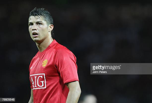Cristiano Ronaldo of Manchester United in action during the preseason friendly match between Manchester United and Inter Milan at Old Trafford on...