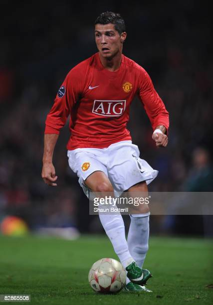 Cristiano Ronaldo of Manchester United in action during the UEFA Champions League Group E match between Manchester United and Villareal at Old...