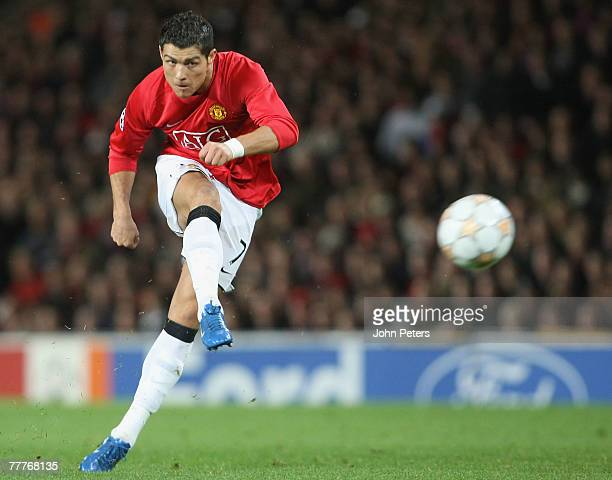 Cristiano Ronaldo of Manchester United in action during the UEFA Champions League match between Manchester United and Dynamo Kiev at Old Trafford on...