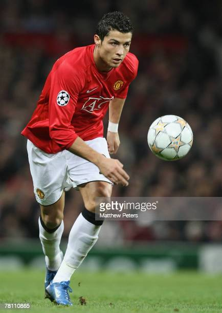 Cristiano Ronaldo of Manchester United in action during the UEFA Champions League match between Manchester United and Sporting Lisbon at Old Trafford...