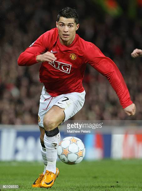 Cristiano Ronaldo of Manchester United in action during the UEFA Champions League first knockout round match between Manchester United and Olympique...