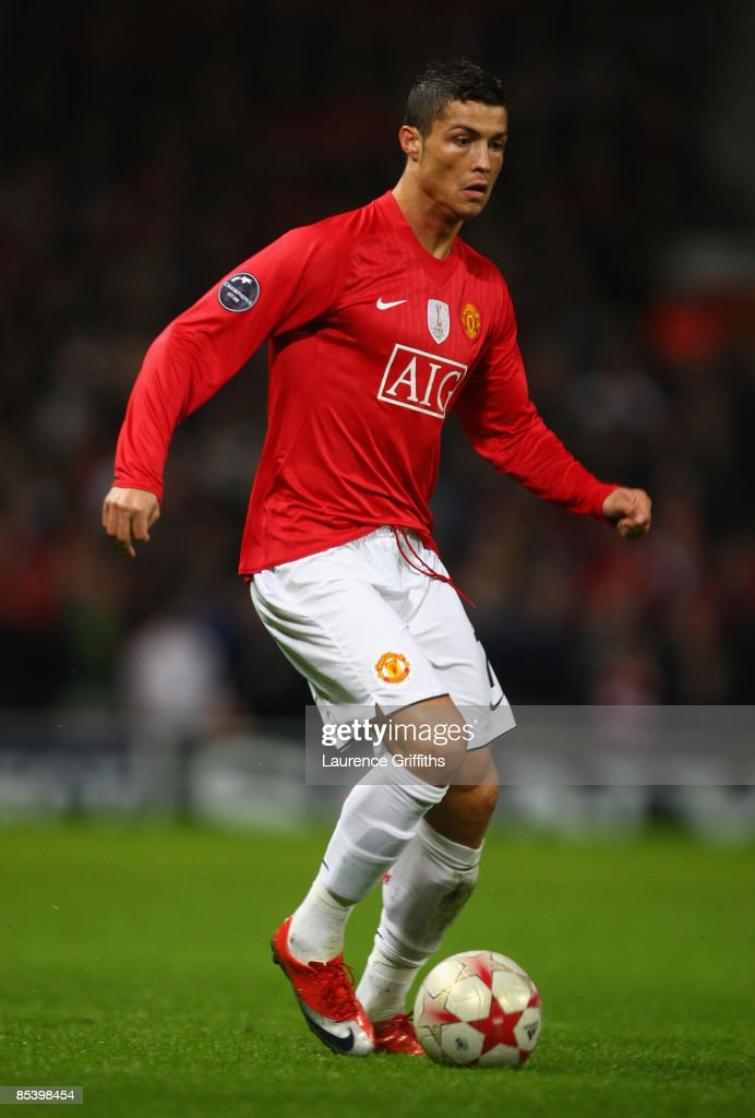 Cristiano Ronaldo of Manchester United in action during the UEFA Champions League Round of Sixteen, Second Leg match between Manchester United and Inter Milan at Old Trafford on March 11, 2009 in Manchester, England.