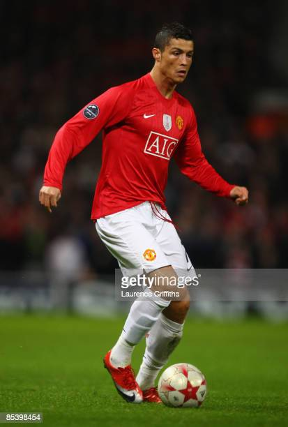 Cristiano Ronaldo of Manchester United in action during the UEFA Champions League Round of Sixteen Second Leg match between Manchester United and...
