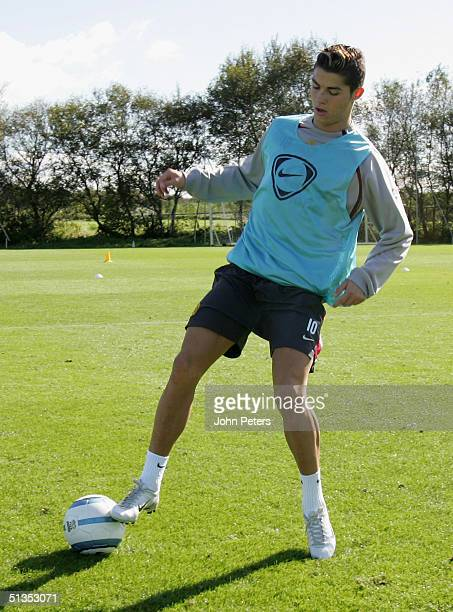Cristiano Ronaldo of Manchester United in action on the ball during a first team training session at Carrington Training Ground on 24 September 2004,...