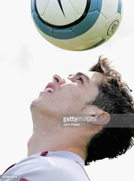 Cristiano Ronaldo of Manchester United in action on the ball during a first team training session at Carrington Training Ground on 22 April 2005 in...