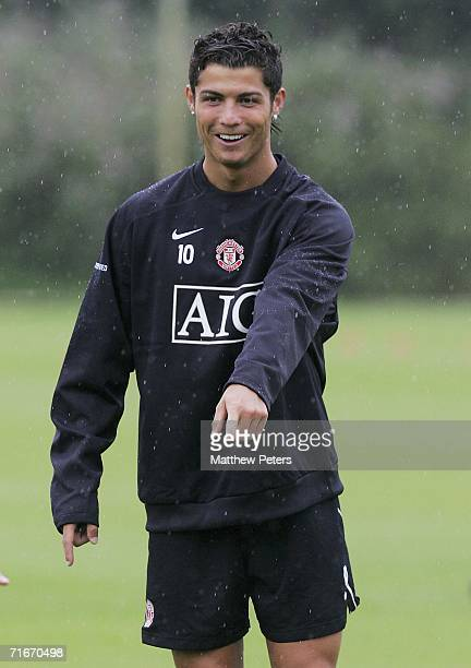Cristiano Ronaldo of Manchester United in action on the ball during a first team training session at Carrington Training Ground on August 18 2006 in...