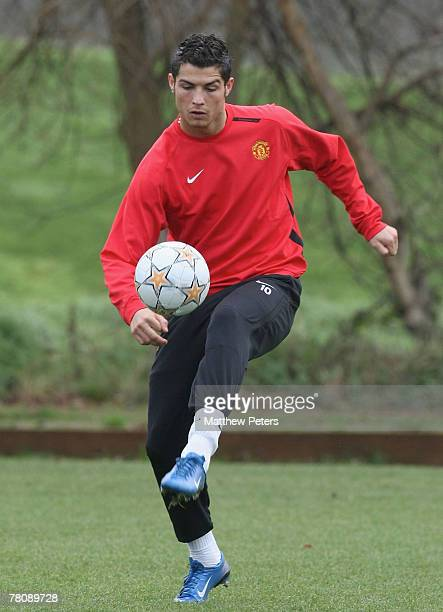 Cristiano Ronaldo of Manchester United in action on the ball during a First Team training session at Carrington Training Ground on November 26 2007...