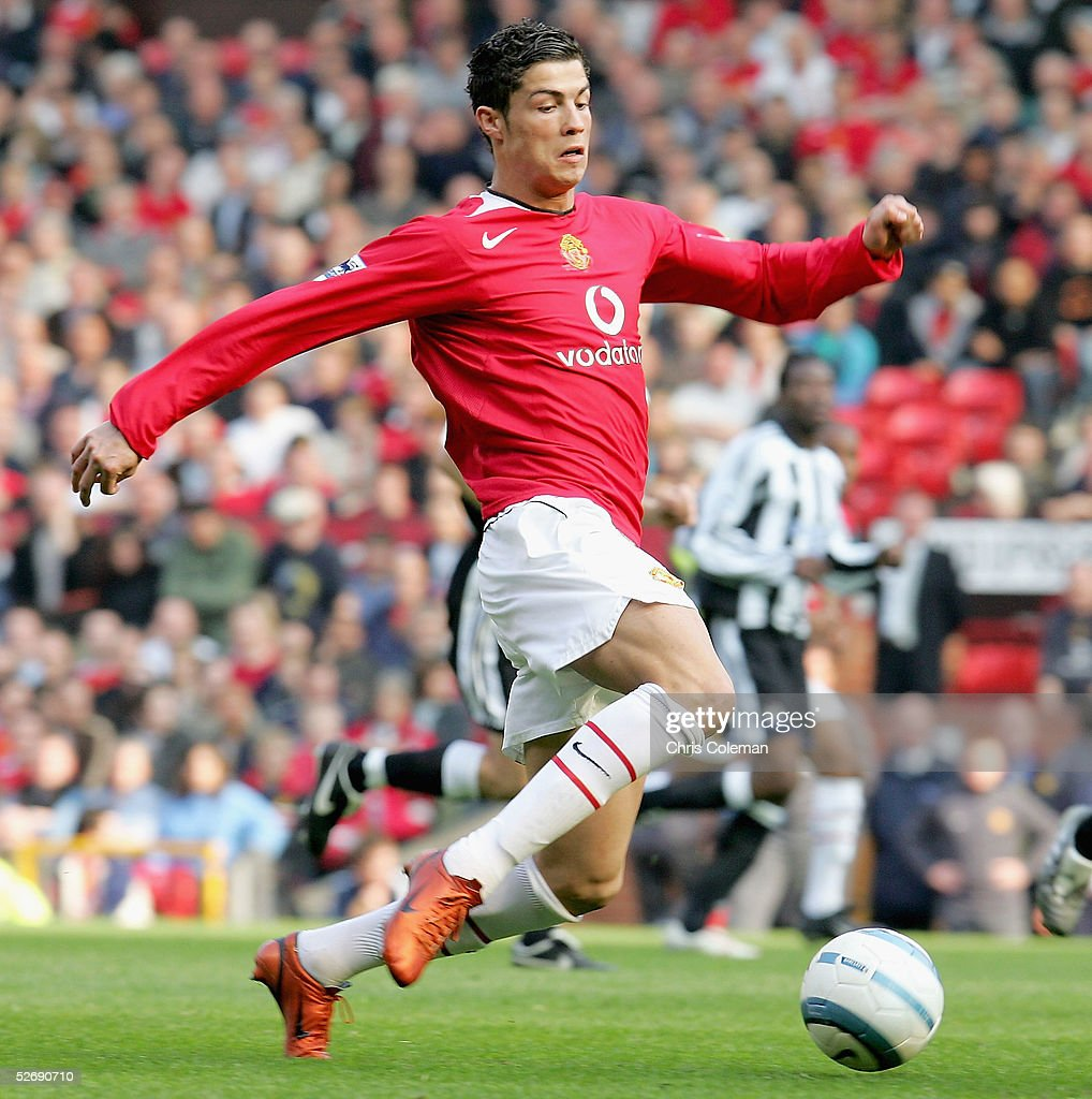 Cristiano Ronaldo of Manchester United in action on the ball during the Barclays Premiership match between Manchester United and Newcastle United at Old Trafford on April 24 2005 in Manchester, England.