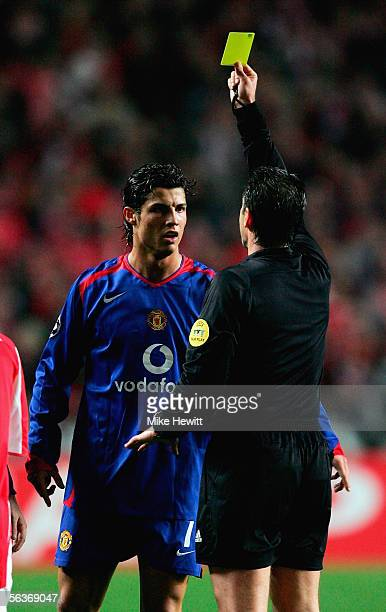 Cristiano Ronaldo of Manchester United is booked during the UEFA Champions League group D match between Benfica and Manchester United at the Stadium...