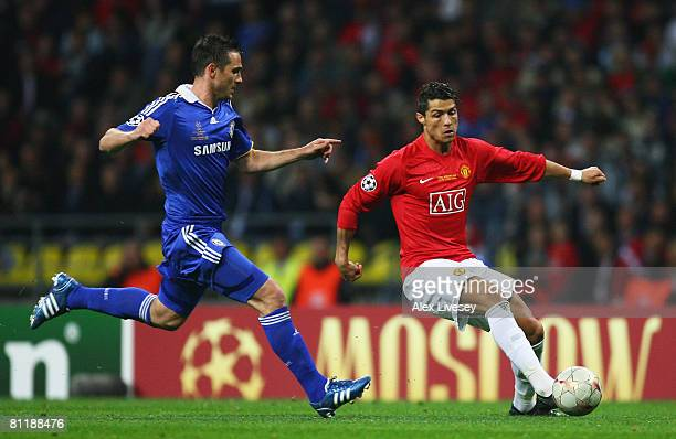 Cristiano Ronaldo of Manchester United is closed down by Frank Lampard of Chelsea during the UEFA Champions League Final match between Manchester...