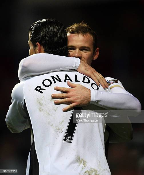 Cristiano Ronaldo of Manchester United is congratulated by Wayne Rooney afterhe scores the first goal of the game during the FA Cup sponsored by EON...