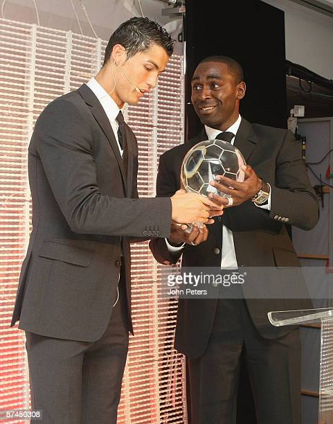 Cristiano Ronaldo of Manchester United is presented with the Goal of the Year Award for his goal away at Porto by Andy Cole at the club's annual...