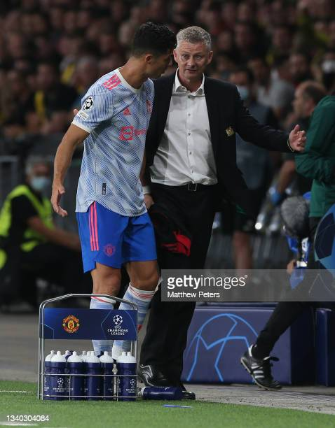 Cristiano Ronaldo of Manchester United is substituted by Manager Ole Gunnar Solskjaer during the UEFA Champions League group F match between BSC...
