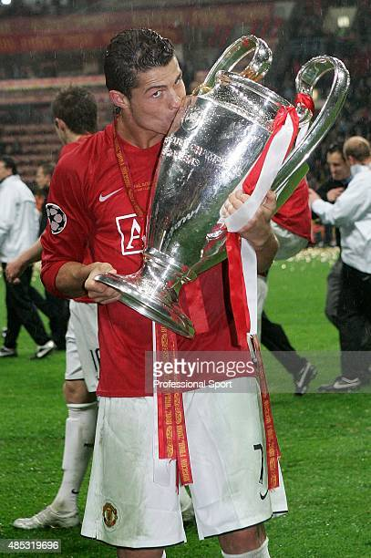 Cristiano Ronaldo of Manchester United kisses the trophy following his team's victory during the UEFA Champions League Final match between Manchester...
