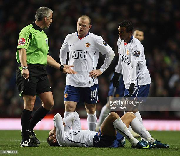 Cristiano Ronaldo of Manchester United lies injured during the Barclays Premier League match between Aston Villa and Manchester United at Villa Park...