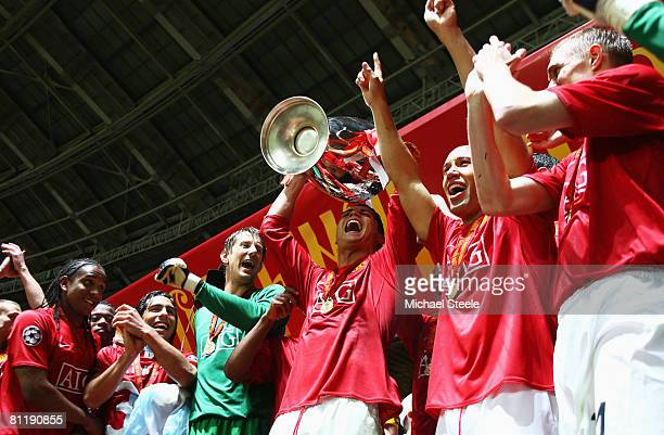 Cristiano Ronaldo of Manchester United lifts the trophy after the UEFA Champions League Final match between Manchester United and Chelsea at the...