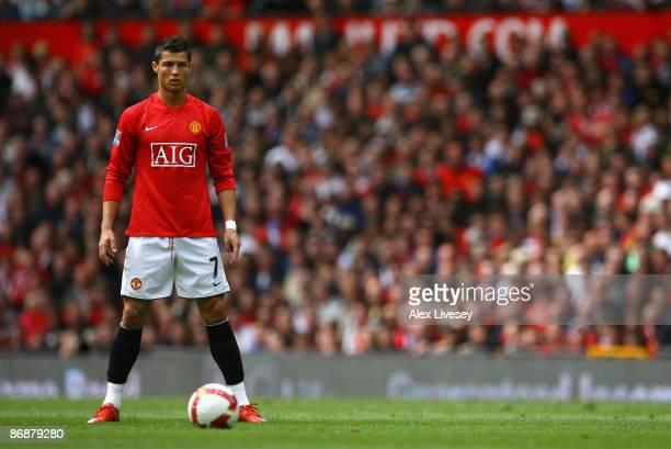 Cristiano Ronaldo of Manchester United lines up a free kick during the Barclays Premier League match between Manchester United and Manchester City at...