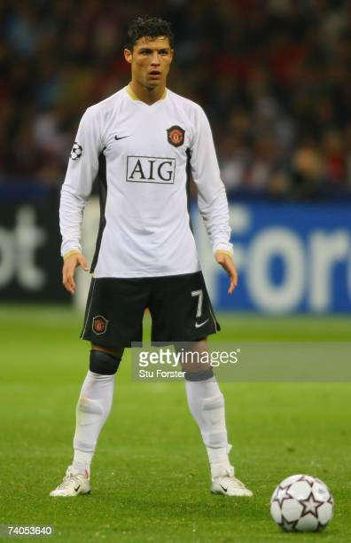 Cristiano Ronaldo of Manchester United lines up a freekick during the UEFA Champions League semi final second leg match between AC Milan and...