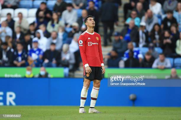 Cristiano Ronaldo of Manchester United looks dejected during the Premier League match between Leicester City and Manchester United at The King Power...