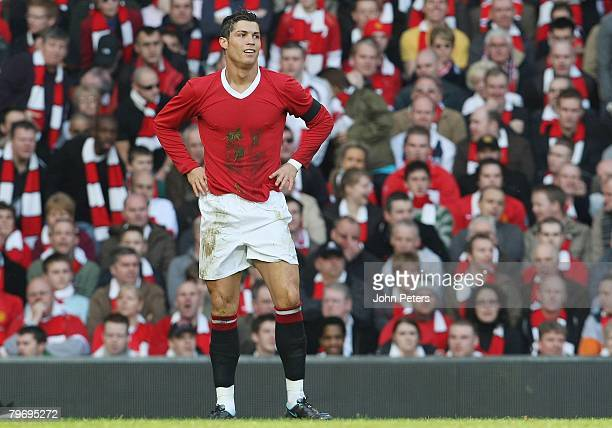 Cristiano Ronaldo of Manchester United looks disappionted after a missed chance during the Barclays FA Premier League match between Manchester United...
