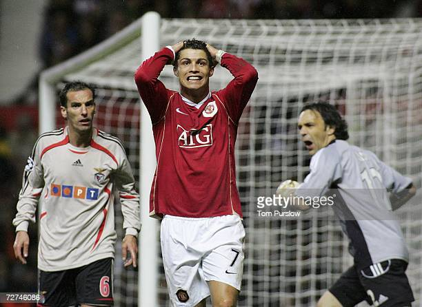 Cristiano Ronaldo of Manchester United looks disappionted after an unsuccessful penalty appeal during the UEFA Champions League match between...