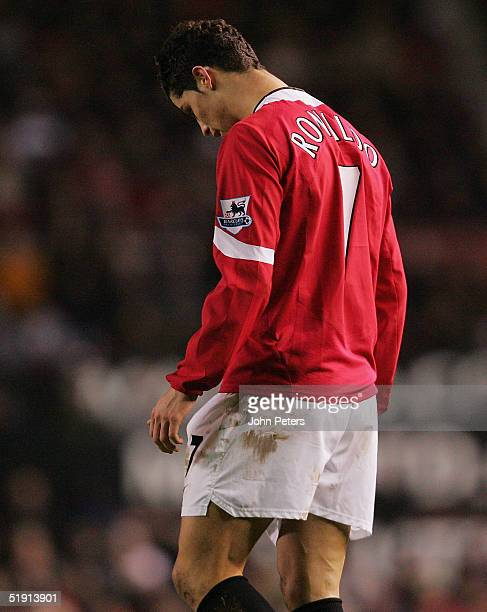 Cristiano Ronaldo of Manchester United looks disappointed as he walks off after the Barclays Premiership match between Manchester United and...