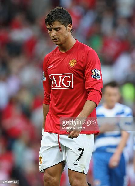 Cristiano Ronaldo of Manchester United looks disappointed at the final whistle of the Barclays FA Premier League match between Manchester United and...