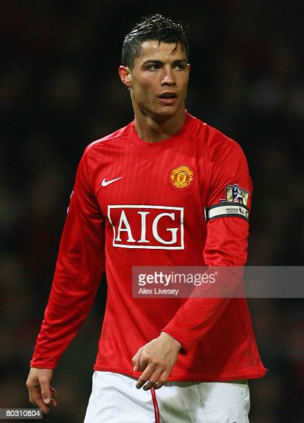 Cristiano Ronaldo of Manchester United looks on during the Barclays Premier League match between Manchester United and Bolton Wanderers at Old...