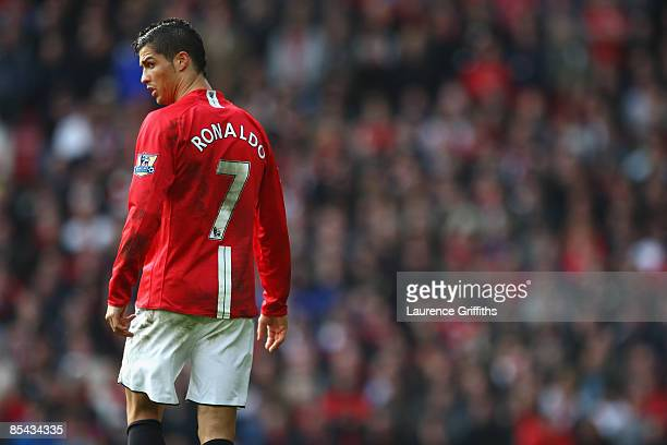 Cristiano Ronaldo of Manchester United looks on during the Barclays Premier League match between Manchester United and Liverpool at Old Trafford on...