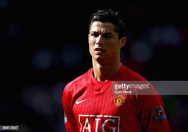 Cristiano Ronaldo of Manchester United looks on during the Barclays Premier League match between Manchester United and Aston Villa at Old Trafford on...