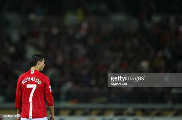 Cristiano Ronaldo of Manchester United looks on during the FIFA Club World Cup semi final match between Manchester United and Gamba Osaka at the...