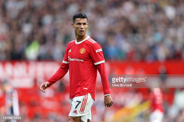 Cristiano Ronaldo of Manchester United looks on during the Premier League match between Manchester United and Newcastle United at Old Trafford on...