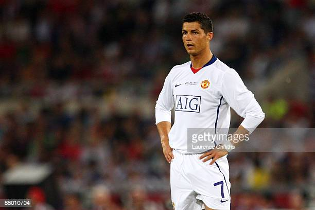 Cristiano Ronaldo of Manchester United looks on during the UEFA Champions League Final match between Barcelona and Manchester United at the Stadio...