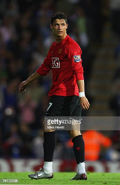 Cristiano Ronaldo of Manchester United looks over his shoulder in disgust after being sent off for his part ina goalmouth fraca during the Barclays...