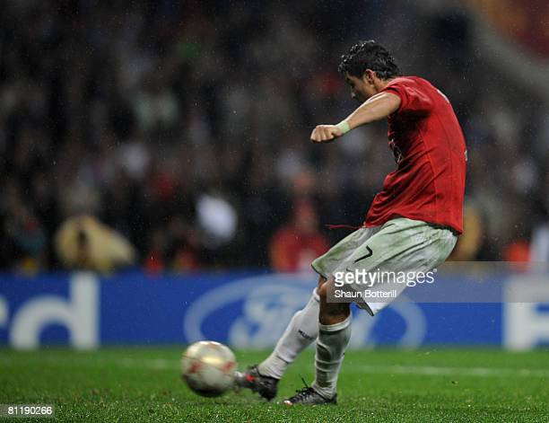 Cristiano Ronaldo of Manchester United misses a penalty during the UEFA Champions League Final match between Manchester United and Chelsea at the...