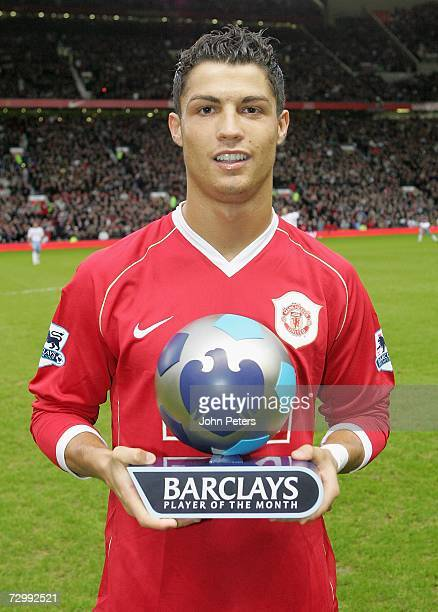 Cristiano Ronaldo of Manchester United poses with his Barclays Player of the Month award for December 2006 ahead of the Barclays Premiership match...