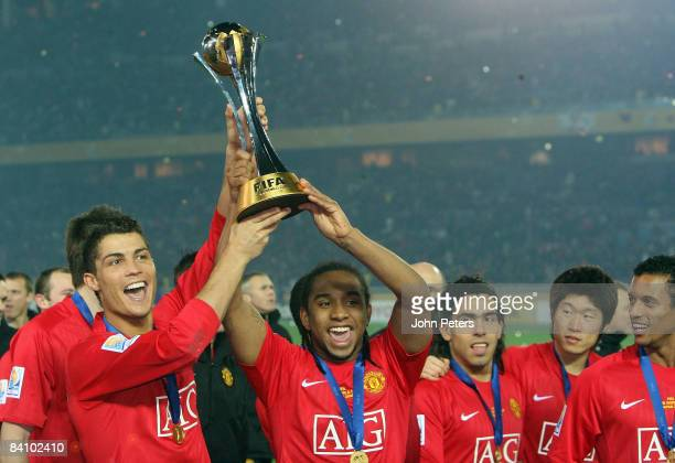 Cristiano Ronaldo of Manchester United poses with the FIFA World Club Cup after the FIFA World Club Cup Final match between LDU Quito and Manchester...
