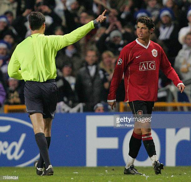 Cristiano Ronaldo of Manchester United protests to referee Wolfgang Stark during the UEFA Champions League match between FC Copenhagen and Manchester...