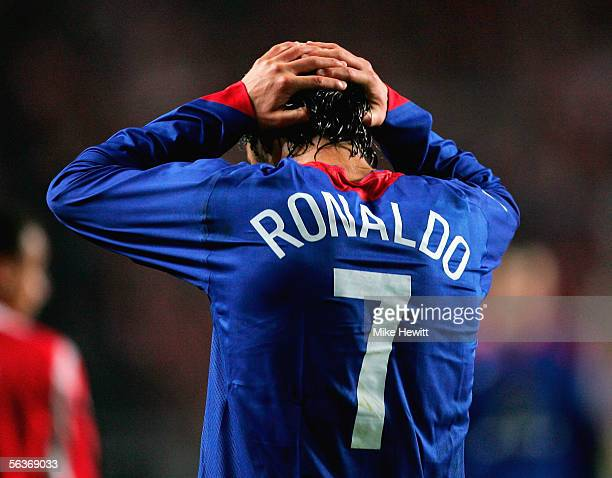 Cristiano Ronaldo of Manchester United puts his head in his hands after a refereeing decision goes against him during the UEFA Champions League group...