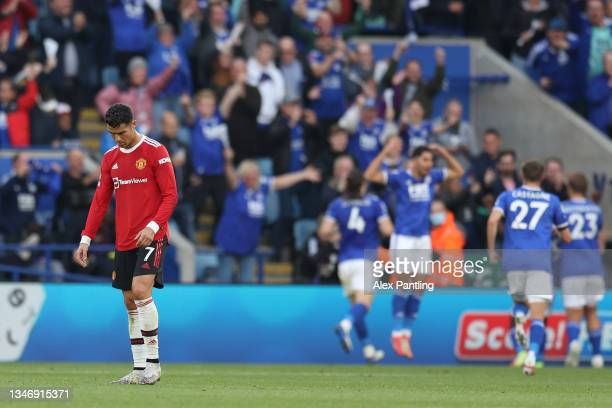 Cristiano Ronaldo of Manchester United reacts after their side concedes a fourth goal scored by Patson Daka of Leicester City during the Premier...