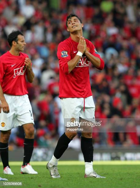 Cristiano Ronaldo of Manchester United reacts during the Barclays Premier League match between Manchester United and Reading at Old Trafford in...