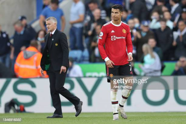 Cristiano Ronaldo of Manchester United reacts following their side's defeat in the Premier League match between Leicester City and Manchester United...
