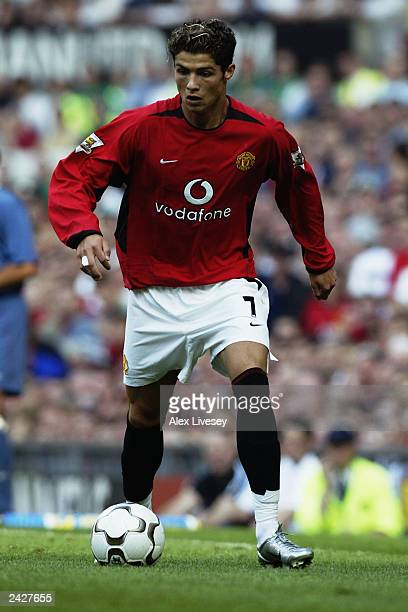 Cristiano Ronaldo of Manchester United runs with the ball during the FA Barclaycard Premiership match between Manchester United and Bolton Wanderers...