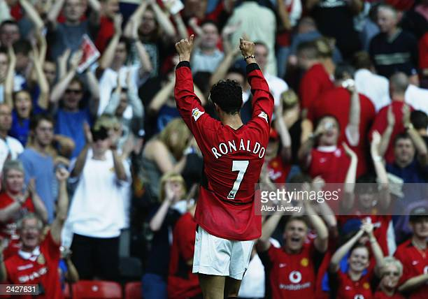 Cristiano Ronaldo of Manchester United salutes the fans during the FA Barclaycard Premiership match between Manchester United and Bolton Wanderers...