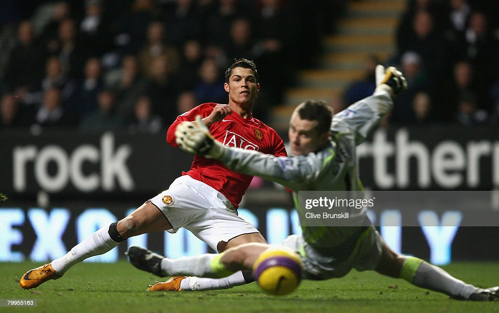 Cristiano Ronaldo of Manchester United scores his team's second goal during the Barclays Premier League match between Newcastle United and Manchester United at St James' Park on February 23, 2008 in Newcastle, England.